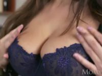 Brunette mom in stockings and sexy lingerie fucked by the plumber