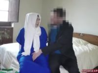 Sweet arab chick gets a big dick in her mouth and pussy