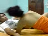 Sexy indonesian girl with perfect body riding boyfriend
